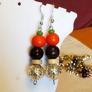 "1.5"" Metal and Wood Bead Layer Dangle Earrings NWT"